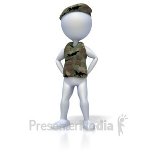 ID# 1906 - Military Stand At Ease - Presentation Clipart