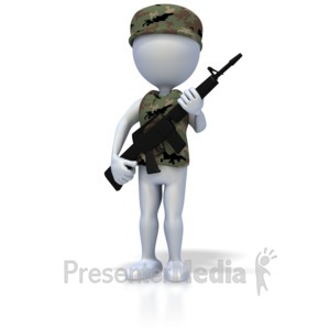ID# 1909 - Military Stick Figure With Rifle - Presentation Clipart