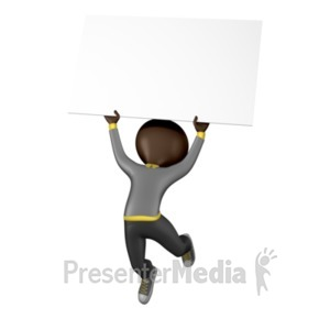ID# 1917 - Stick Figure Jump Sign - Presentation Clipart