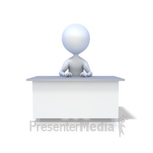 ID# 1923 - Stick Figure At Desk - Presentation Clipart