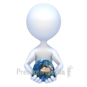 ID# 1925 - Stick Figure Hold Earth - Presentation Clipart