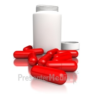 ID# 1926 - Blank Pill Bottle With Red Pills - Presentation Clipart