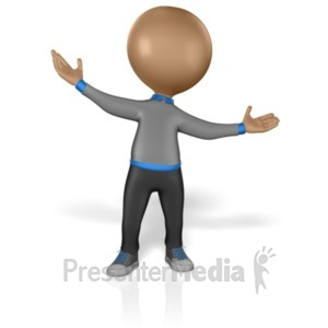 ID# 1932 - Stick Figure Welcome Hands - Presentation Clipart