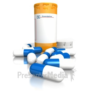 ID# 1953 - Orange Medication Bottle Blue White Pill - Presentation Clipart