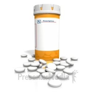 ID# 1959 - Orange Medication Bottle White Tablets - Presentation Clipart