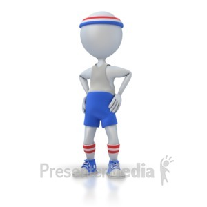 ID# 1964 - Gym Workout Figure Standing - Presentation Clipart