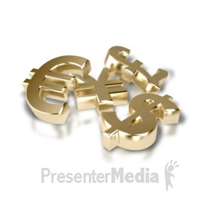 ID# 1967 - Pile of Financial Money Symbols - Presentation Clipart