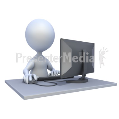 3D Figure Computer Workstation PowerPoint Clip Art
