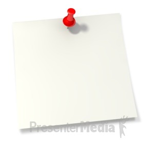 ID# 2057 - Thumbtack in White Sticky Note - Presentation Clipart