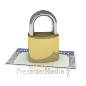 ID# 2070 - Social Security Locked  - Presentation Clipart