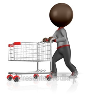 ID# 2077 - 3D Figure With Shopping Cart - Presentation Clipart