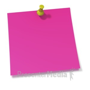 ID# 2092 - Thumbtack In Pink Sticky Note - Presentation Clipart