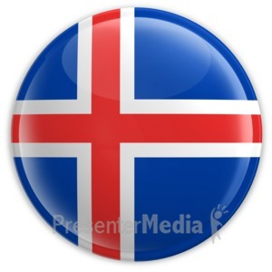 ID# 2102 - Badge of the Flag of Iceland - Presentation Clipart