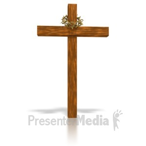 ID# 2117 - Wooden Cross and crown - Presentation Clipart
