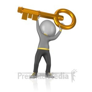 ID# 2119 - Figure Holding Gold Key - Presentation Clipart