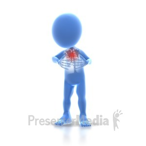 ID# 2153 - Stick Figure Chest Pain - Presentation Clipart