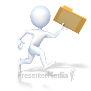 ID# 2181 - 3D Figure Running with File Folder - Presentation Clipart