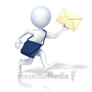 ID# 2186 - 3D Mailman Deliver - Presentation Clipart