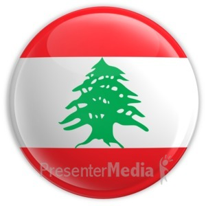 ID# 2189 - Badge of the Flag of Lebanon - Presentation Clipart