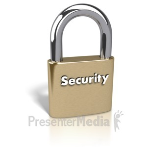 ID# 2231 - Gold Padlock Security Text - Presentation Clipart