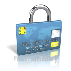 ID# 2232 - Credit Card World Secure Lock - Presentation Clipart