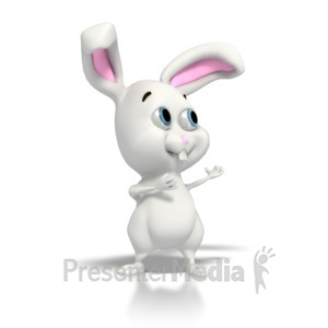 ID# 2251 - Easter Bunny Gesturing  - Presentation Clipart