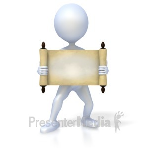 ID# 2258 - Figure Holding Old Scroll - Presentation Clipart