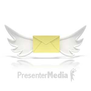 ID# 2268 - Flying Mail Letter  - Presentation Clipart