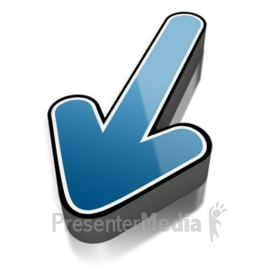 ID# 2274 - Blue Short Shiny Arrow Outline - Presentation Clipart