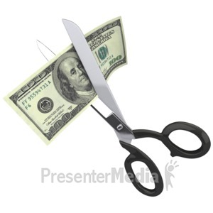 ID# 2296 - Scissors Clipping a Hundred Dollar Bill - Presentation Clipart