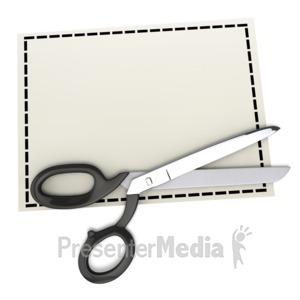 ID# 2298 - Scissors on Top of Blank Coupon - Presentation Clipart