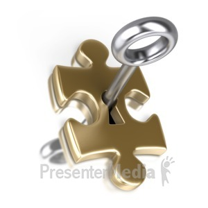 ID# 2316 - Gold Puzzle Piece Silver Key Insert - Presentation Clipart