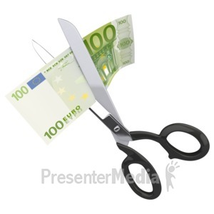 ID# 2323 - Scissors Clipping a Hundred Euro - Presentation Clipart