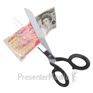 ID# 2324 - Scissors Clipping Fifty British Pounds - Presentation Clipart
