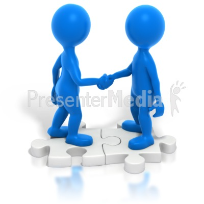 Two Blue Stickmen Handshake Puzzle PowerPoint Clip Art