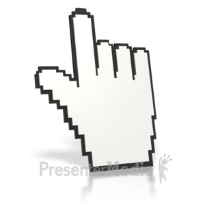 ID# 2355 - Mouse Finger Point Up  - Presentation Clipart