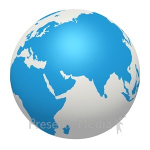 ID# 2358 - Blue White Earth Europe Africa Asia - Presentation Clipart