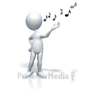 ID# 2388 - Stick Figure Singing Music Notes - Presentation Clipart