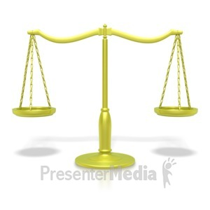 ID# 2403 - Justice Scale Gold  - Presentation Clipart