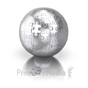 ID# 2407 - Shiny Silver Puzzle Sphere Missing Piece - Presentation Clipart