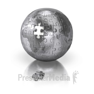 ID# 2411 - Shiny Silver Puzzle Globe Africa Europe - Presentation Clipart