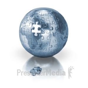 ID# 2415 - Shiny Blue Puzzle Globe Africa Europe - Presentation Clipart