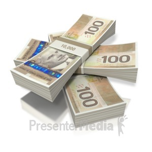 ID# 2421 - Canadian Money Three Bundles - Presentation Clipart
