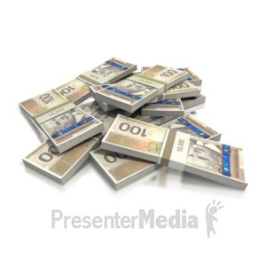 ID# 2422 - Canadian Hundred Dollar Bill Pile - Presentation Clipart