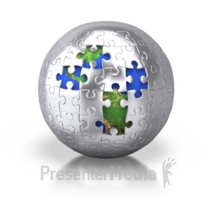 ID# 2427 - Silver Puzzle Pieces Revealing Earth - Presentation Clipart