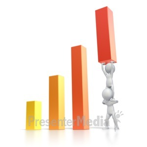 ID# 2430 - Raise Bar Graph High - Presentation Clipart
