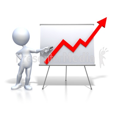 Stick Figure Presenting Graph Increase PowerPoint Clip Art