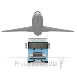 ID# 2474 - Truck And Airplane  - Presentation Clipart