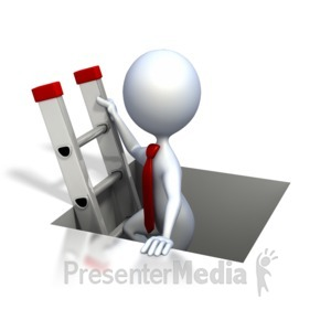 ID# 2499 - Stick Figure Climbing The Corporate Ladd - Presentation Clipart