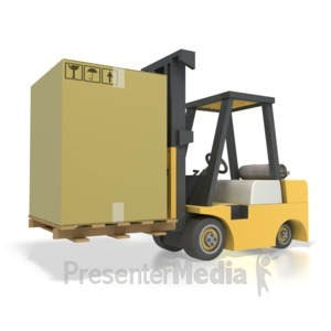 ID# 2504 - Forklift Box Shipping - Presentation Clipart